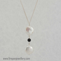 White coin pearl + black onyx pendant, freshwater pearls, gemstone, sterling silver, handmade, feminine, bridal, gift for her, wedding