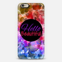 HELLO BEAUTIFUL Colorful Ombre Abstract Watercolor Painting Fine Art Whimsical Rainbow Lovely Typography Quote Font Pretty Girly Chic Elegant Modern Floral Design iPhone 6 case by Ebi Emporium | Casetify
