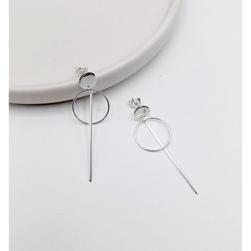 925 Sterling Silver Disc Bar Earring(102-4561)