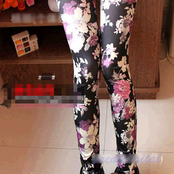Tight Pants Sexy Black Rose Flower Graffiti Soft Stretch Leggings Fashion Women