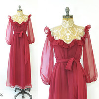 Vintage Lace Collar Dress • 70s Cranberry Red Gown • Ruffled Dress • Victorian Style • Maxi Dress • Tie Waist • 70s Lace Dress • Small