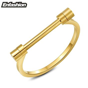 Enfashion Flat Shackle Screw Bracelet Gold Color Stainless Steel Bangles Bracelets for women Cuff bracelet Jewelry Pulseiras