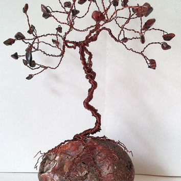 Intense Red Tiger Eye Healing GEM TREE of Life Wire Sculpture / Zen Home Decor, Yoga Gifts, Chakra Healing, Aura Space Cleansing