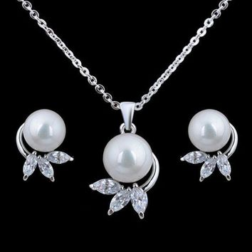The Bride Earrings Necklace Shell Pearl Rhinestone Chain Set