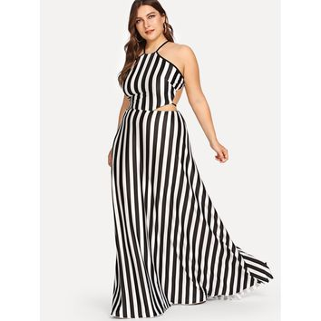 Vertical Stripe Halter Dress