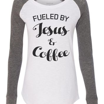 "Womens ""Fueled By Jesus & Coffee"" Long Sleeve Elbow Patch Contrast Shirt"