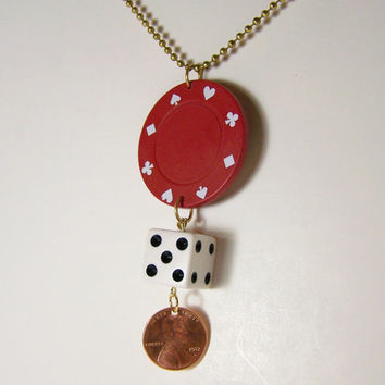 Poker Necklace, Lucky Penny, Gambling Jewely, Dice Jewelry, Money Necklace