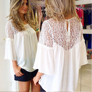 Star Lace Chiffon Patchwork Half-sleeve T-shirts [6339043393]