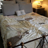 Shabby Rustic Gypsy Boho Bedspread, Bedding, Bohemian, Anthropologie Quilt Inspired - Glamping - OOAK, Repurposed, Upcycled Textiles