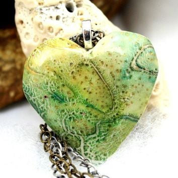 Polymer clay hear shape pendant, double chain necklace, antiqued style chain, raku technique, blue, green, gold leaf, on two antiqued chains