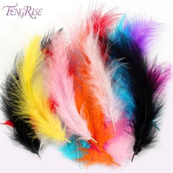 FENGRISE 100pcs Natural Turkey Feathers Colorful Fringe Rooster Feather Tail Clothing White Plume Pena DIY Sewing Accessories