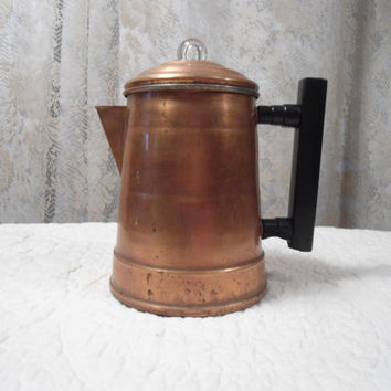 Small Copper Campfire Coffee Pot Stove Top Coffee Pot Brass Decor Vintage Outdoors Perculator Home Decor Outdoorsman