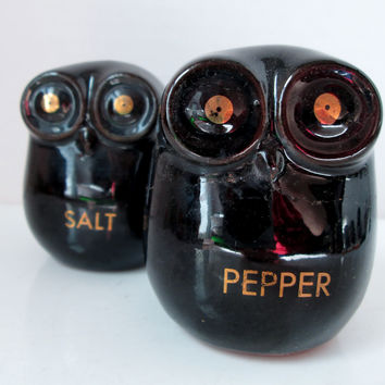 Vintage Owl Salt and Pepper Shakers Mid-Century Modern Black
