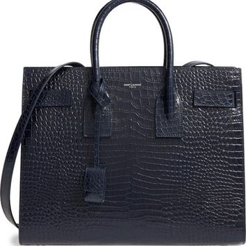 Saint Laurent Small Sac de Jour Croc Embossed Calfskin Leather Tote | Nordstrom