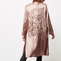 Pink embroidered duster jacket - jackets - coats / jackets - women