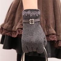 Practical Ms. Touch Screen Gloves Korean Women Lace Velvet Cute Cycling Gloves Winter Warm Gloves #HuoLiCityMall# = 1958024196