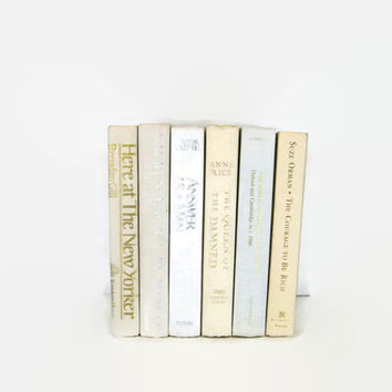 Ivory White Vintage Book Decor , Decorative Books ,  Photo Prop , Bookshelf Decor , Home Decor , Old Book Decor ,