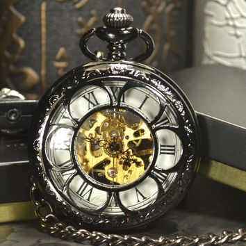 TIEDAN Steampunk Pocket Watch Black White Luxury Brand Antique Fashion Skeleton Watches Hand Wind Mechanical Pocket Watch