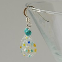Millefiore glass and turquoise earrings - clear, blue and white