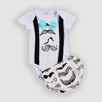 Summer Fashion Newborn Infant Baby Boys Clothes mustache gentleman Romper +Triangle shorts Outfits Clothes