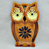 Owl Vintage Spoon Rest or Wall Plaque by vintagejunque on Etsy