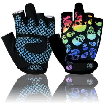 Rainbow Skull Fitness Gloves
