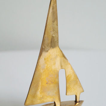 Brass Boat Figurine Sail Boat Small Brass Ship Paper Weight Solid Brass