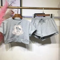 Moncler Cropped Tee Shorts Sweatpants Set Two-Piece