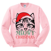 Pink Crewneck Meowy Christmas Merry Cat Kitten Ugly Christmas Sweatshirt Sweater Jumper Pullover