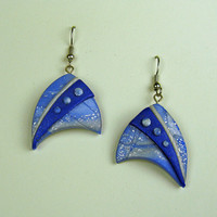 3D Nautical Art Earrings Blues and White Polymer Clay