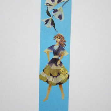 "Handmade unique bookmark ""A step forward"" - Pressed flowers bookmark - Unique gift - Paper bookmark - Original art collage."