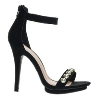 Amy01A Black By Wild Diva, Pearl High Heel Stiletto Sandal, Women Open Toe Platform Shoe