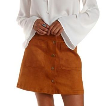 Camel Button-Up Faux Suede Skirt by re:named at Charlotte Russe