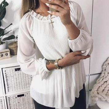 women pleated blouses top ruffles chiffon long sleeve blusascasual shirts plus size solid soft gv385