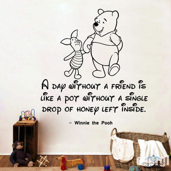 Winnie the Pooh Wall Decal Quotes A Day Without Vinyl Sticker Nursery Kids SM155