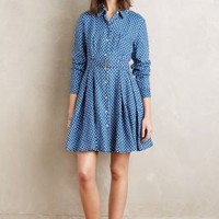 Holding Horses Dotted Linen Shirtdress in Blue Size: