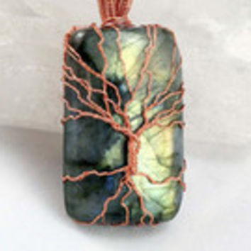 Silver and Blue Flash Labradorite Tree of Life Pendant Raw Copper Wire Wrapped Labradorite Cabochon with Satin Chain