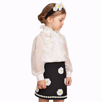 New Design Flower Girl Clothing Sets White Chiffion Long Sleeve Tops And Vest And Black Flower Skirt GG55