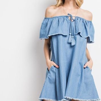 Off the Shoulder Tencel Dress