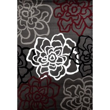 Red/ Grey Polypropylene Contemporary Modern Floral Flowers Area Rug (5'3x7'3) | Overstock.com Shopping - The Best Deals on 5x8 - 6x9 Rugs