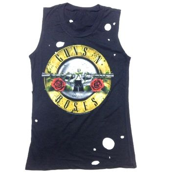 Featuring super soft cotton tee with Guns N Roses Classic Art Work Print on front, distressed and small holes on body, muscle tank style, around neckline, sleeveless, Pair with denim cut off and open toe sandals.