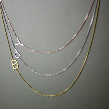 Sterling Silver Sideways initial Necklace / Alphabet Necklace / / Multiple Letter Necklace / Mother's Day Gifts / Graduation Gift