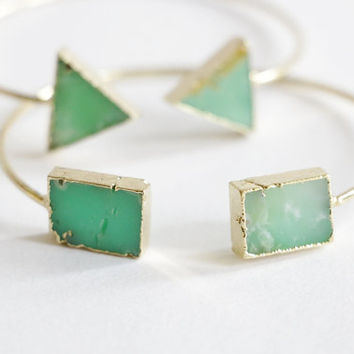 Green Jade rock bracelet, raw crystal bracelet, Adjustable Bangle Crystal Bracelet Gemstone Triangle Rectangle geometric boho, minimalist