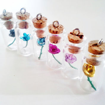 Custom Colors  Rose in a Bottle necklace by kikums on Etsy