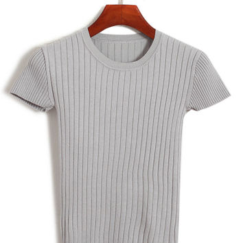 Short Sleeve Knit T-shirt