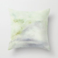 "Delicate green cushion cover with fine art print Pastel pillow Minimal watercolor accent pillow cover. Couch pillow cover ""The Road Ahead 1"""