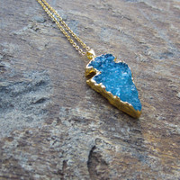 Arrowhead Druzy Necklace, Aqua Arrowhead Pendant, Aqua Agate gemstone Necklace, Gift for women, gifts for her, Aqua Spear Pendant