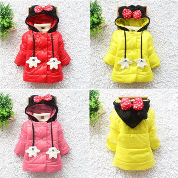 Baby Kids Girls Mickey Minnie Palm Bowknot Winter Hooddie Coat Jacket Outwear Snowsuit
