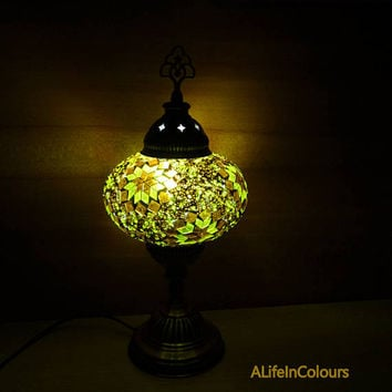 Golden yellow and brown colour glass mosaic unique Turkish handmade decorative table lamp, bedroom night lamp, bedside lamp.