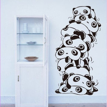 cute Stacked panda wall decal bed room home wall stcker decals decor bedroom room vinyl romoveralble A1285